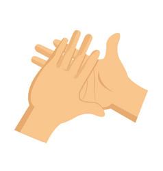 Cartoon man hand clap gesture image vector