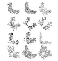 Sketch decorative floral corner borders collection vector