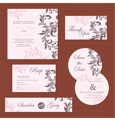 Wedding set pink copy vector