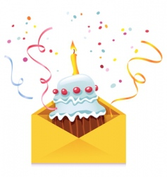 Cake in envelope vector