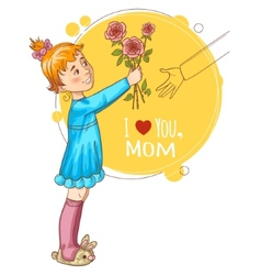 Little girl gives bouquet of tulips at mothers day vector image