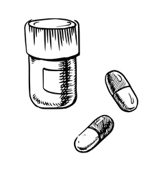 Bottle sketch with pills and capsules vector