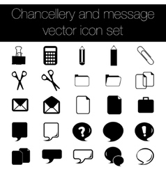 Chancellery and message icon set vector