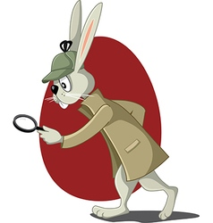 Detective rabbit with magnifying glass cart vector