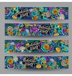 Cartoon hand-drawn underwater life banners vector