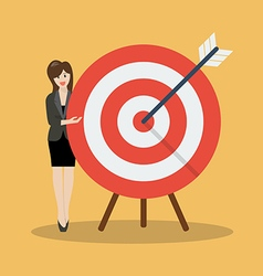 Business woman pointing to the big target vector