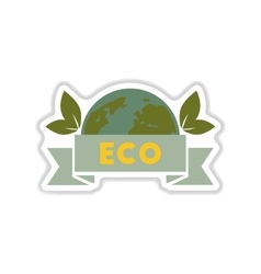 Paper sticker on white background eco symbol vector