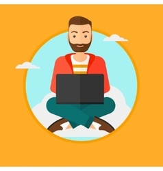 Man using cloud computing technology vector