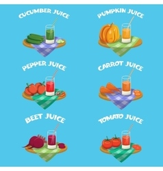 Vegetables emblem set vector