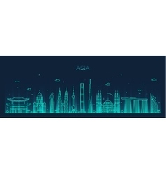 Asia skyline Trendy line art vector image