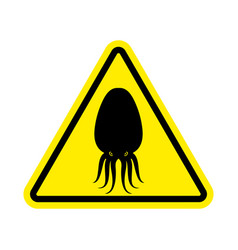 Attention cuttlefish octopus on yellow triangle vector