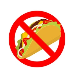 Ban taco prohibited acute mexican food crossed-out vector