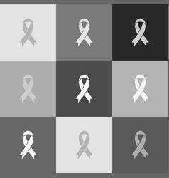 Black awareness ribbon sign grayscale vector