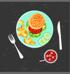 burger french fries and cola vector image vector image