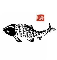 Carp black and white vector