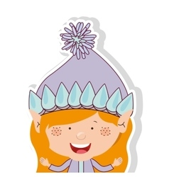 Color image with half body gnome blonde girl vector