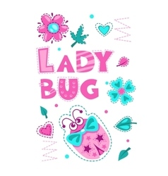 Cute girlish with funny ladybug vector