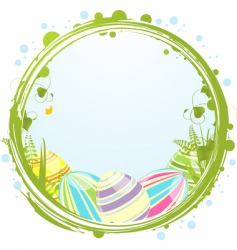 Easter eggs and border vector image vector image