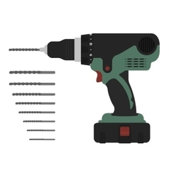 Electric cordless hand drill with bits Green and vector image