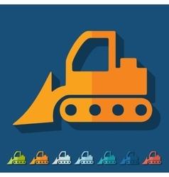 Flat design bulldozer vector