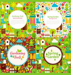 Flat garden spring postcards vector