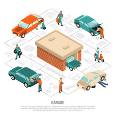 garage isometric composition vector image vector image