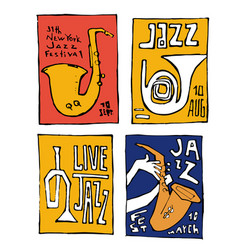 Jazz music festival poster set vector