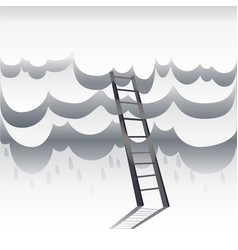 Ladder leading to sky paper white clouds with vector