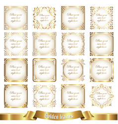 Large collection of golden frames in vintage style vector