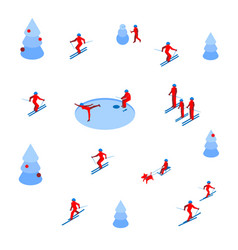 Lot of people skiing and skating on white vector