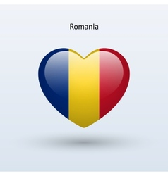 Love Romania symbol Heart flag icon vector image