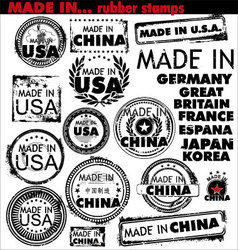 Made in rubber stamps vector