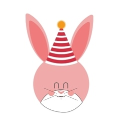 Pink and cute baby rabbit with hat party vector