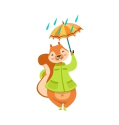 Red Squirrel In Autumn Coat With Umbrella Under vector image