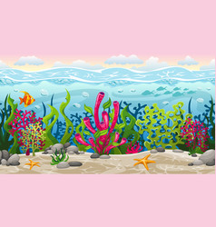 seamless underwater landscape with separate layers vector image vector image