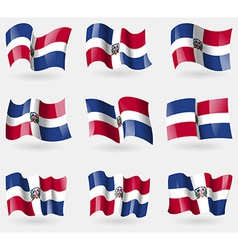 Set of dominican republic flags in the air vector
