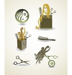 Set of elements - hairdresser vector