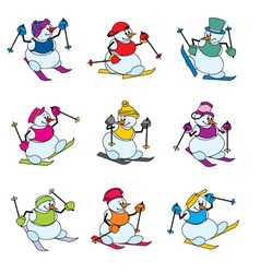 snowman skier vector image vector image