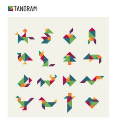 Tangram children brain game cutting transformation vector