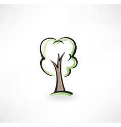 Tree grunge icon vector