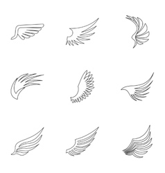 Wings icons set outline style vector