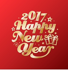 Happy new year gold lettering circle modern vector