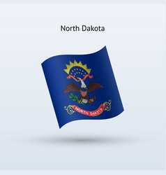 State of north dakota flag waving form vector