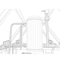 industrial equipment wire-frame render vector image