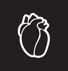 stylish black and white icon human heart vector image
