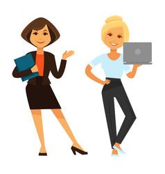 Two businesswomen holding laptop and folder vector
