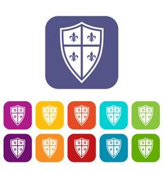 Royal shield icons set vector