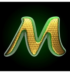 Golden and green letter m vector