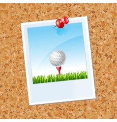 Board with a photo a golf ball vector