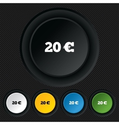 20 euro sign icon eur currency symbol vector